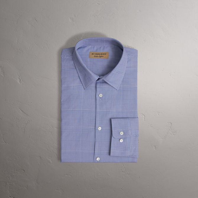 Burberry Modern Fit Check Cotton Shirt In City Blue