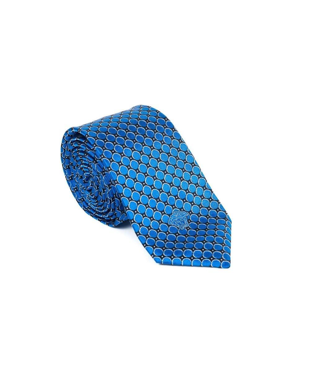 Versace Gianni  Mens Geometric Pattern Silk Medusa Tie In Blue