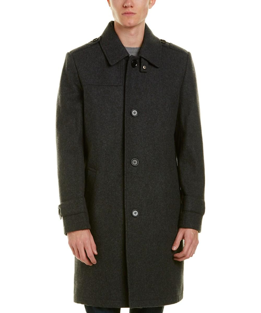 Kenneth Cole New York Wool-blend Coat In Charcoal