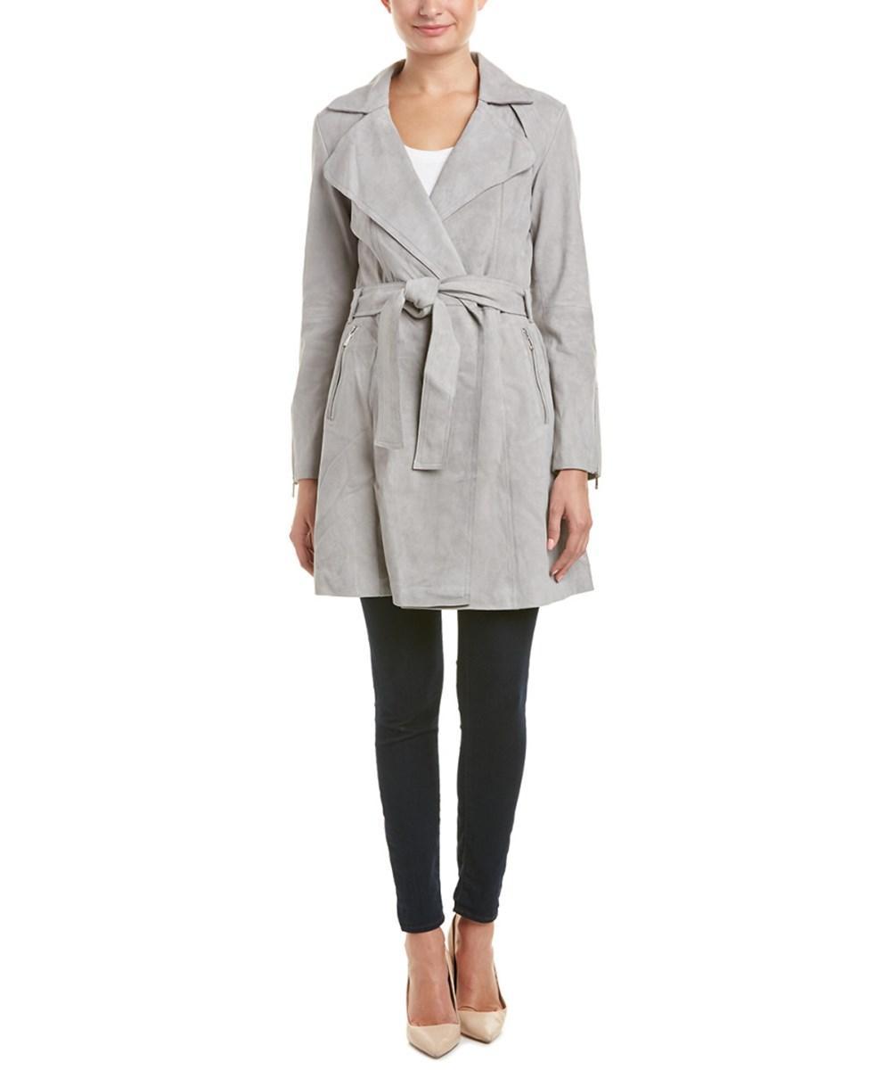 Dawn Levy Suede Wrap Coat In Gray
