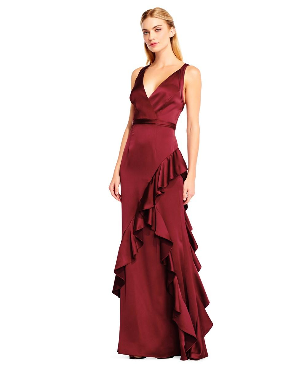 Aidan Mattox Red Sleeveless Evening Gown In Wine