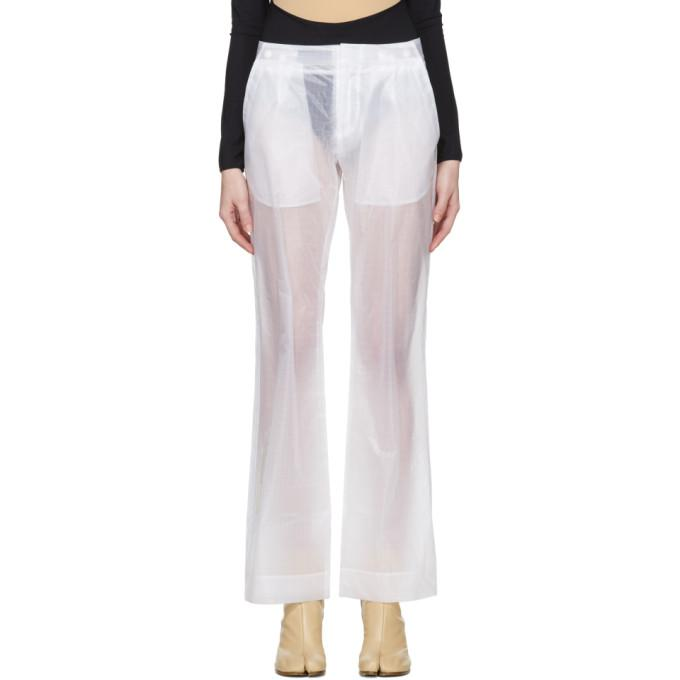 Off-white White Transparent Trousers In 9800 Transp