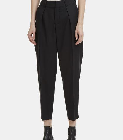 Saint Laurent Tailored Silk Wool Blend Pants In Black