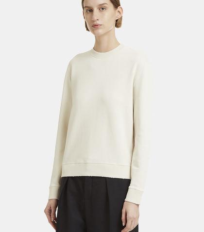 Saint Laurent Logo-stamped Cotton-jersey Sweater In Cream