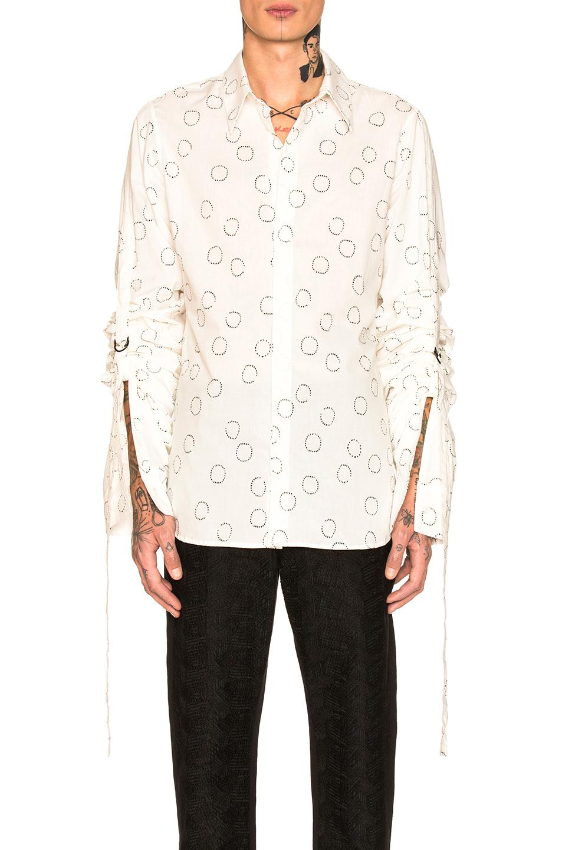 Ann Demeulemeester Long Sleeve Shirt In Geometric Print,white