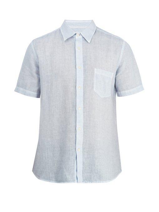 120% Lino Short-sleeved Linen Shirt In Light Blue