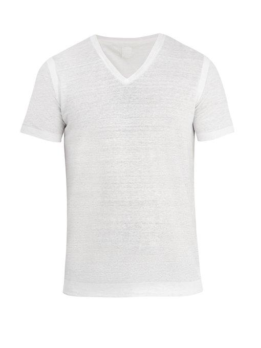 120% Lino V-neck Linen-jersey T-shirt In White