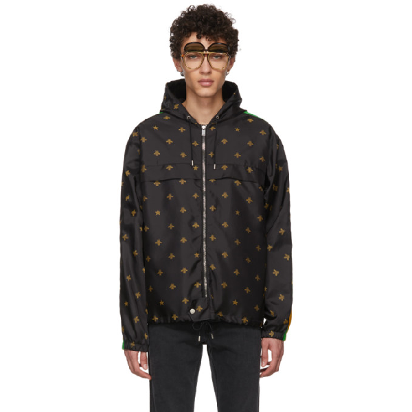 Gucci - Bee And Star Jacquard Shell Hooded Jacket - Mens - Black Multi In 1815 Black