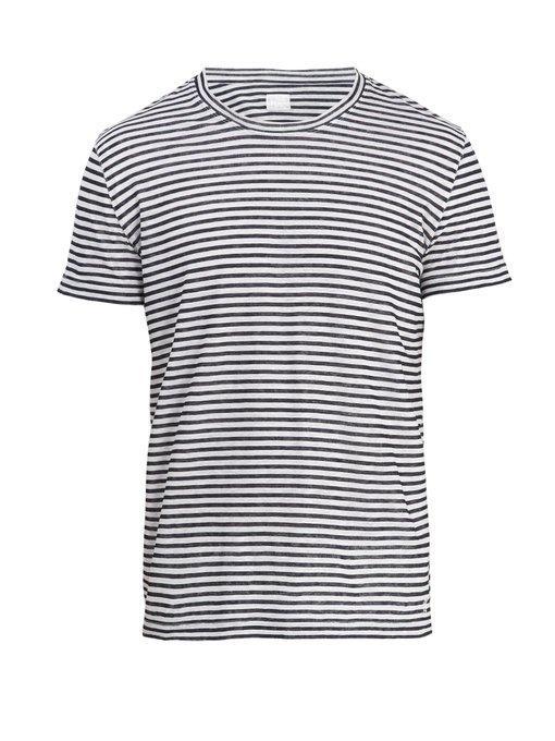 120% Lino - Crew Neck Striped Linen Jersey T Shirt - Mens - White Multi