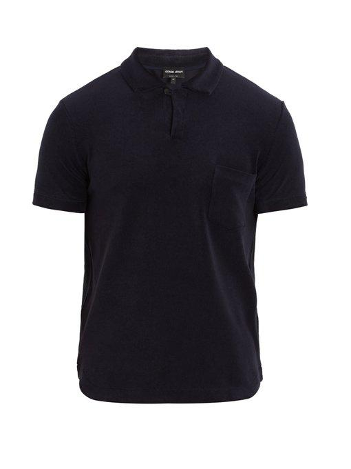 Giorgio Armani Short-sleeved Cotton-blend Towelling Polo Shirt In Navy