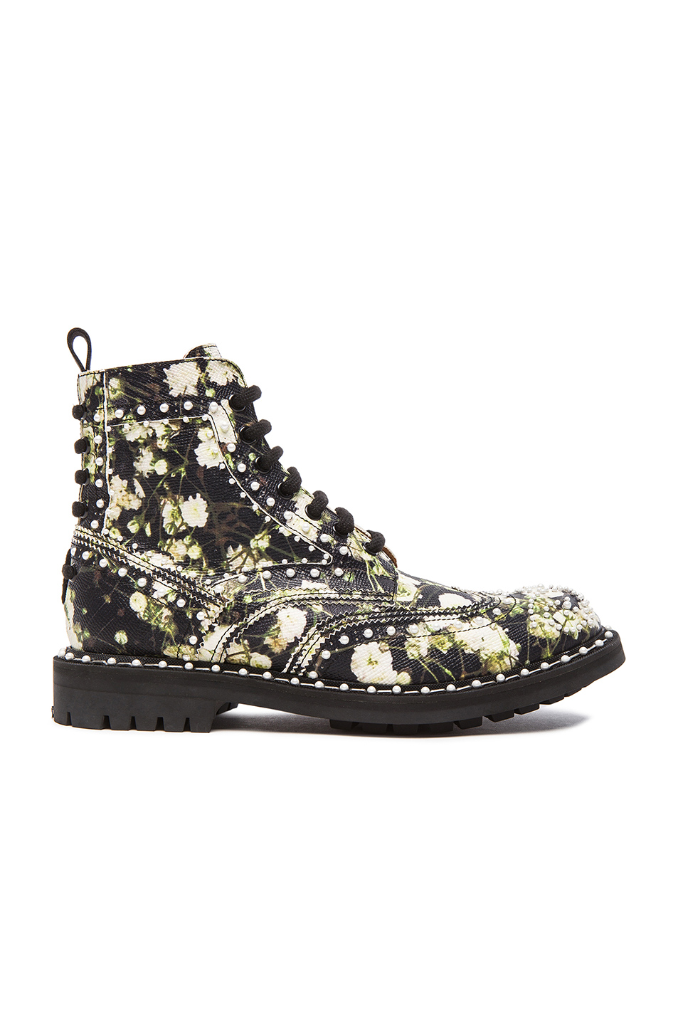 Givenchy Woman Ankle Boots In Multicolored Floral-Print Textured-Leather Black