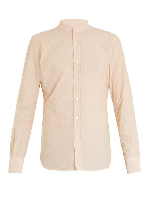 Glanshirt Jared Striped Cotton-blend Shirt In Orange