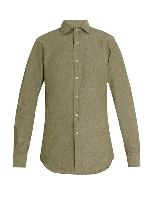 Glanshirt Long-sleeved Slim-fit Cotton Shirt In Olive-green
