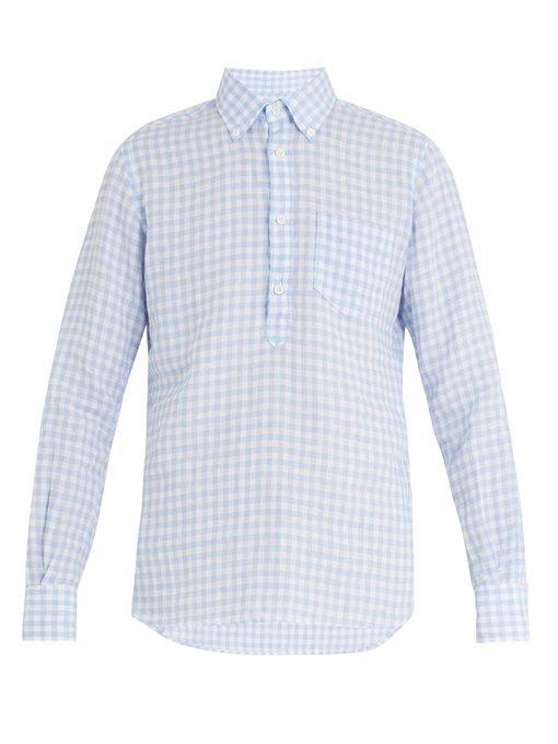 Glanshirt Eric Point-collar Gingham Linen Shirt In Blue