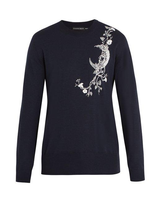 Alexander Mcqueen Moon-embroidered Cashmere-blend Sweater In Navy Multi