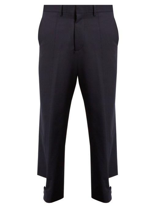 Marni Buttoned-strap Cuff Wool Trousers In Blue