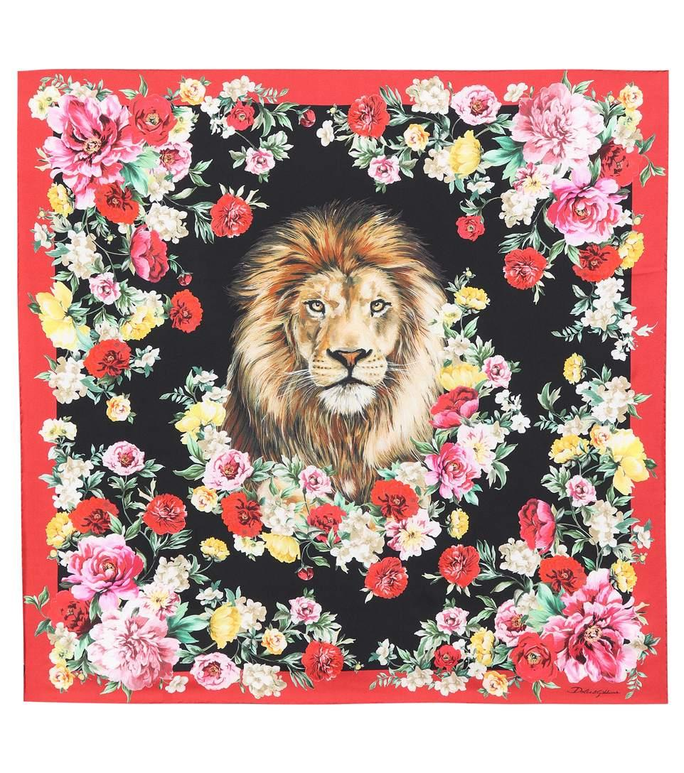 Dolce & Gabbana Floral-printed Silk Scarf In Red