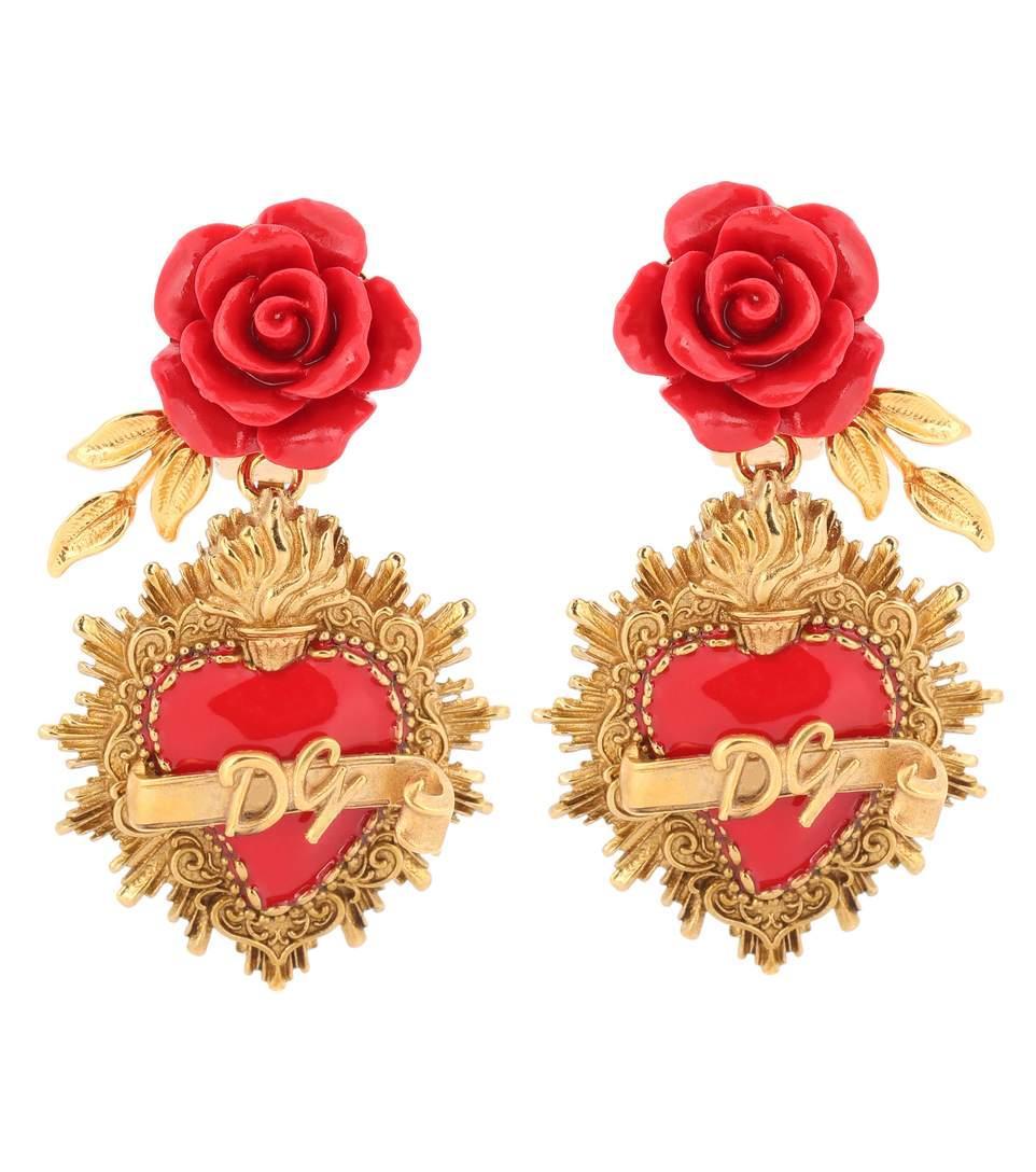 Dolce & Gabbana Rose Heart Drop Earrings In Gold