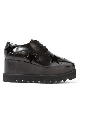 Stella Mccartney Woman Elyse Velvet-trimmed Faux Leather Platform Brogues Black