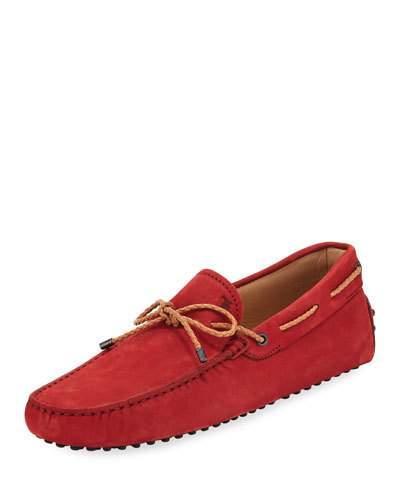 Tod's Suede Flat Slip-On Moccasin, Red