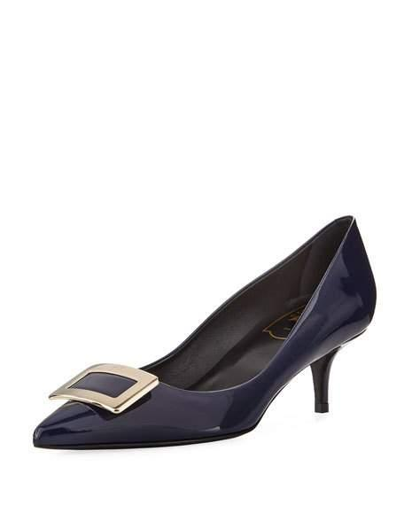Roger Vivier Patent Leather Pilgrim Pump In Dark Blue
