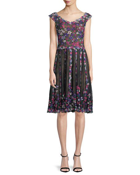 Floral Embroidered Lace Knee Length Cocktail Dress In Blackdahlia
