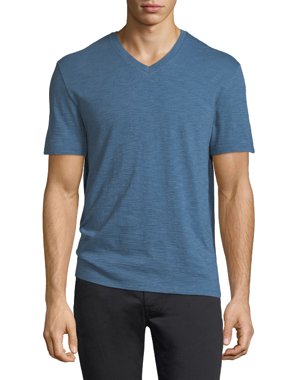 Vince Slim Fit Slub V-neck T-shirt In Santorini