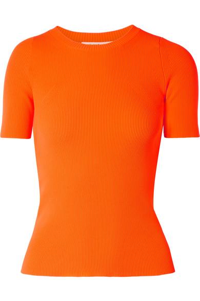 Helmut Lang Essential Crewneck Rib-Knit Tee In Bright Orange