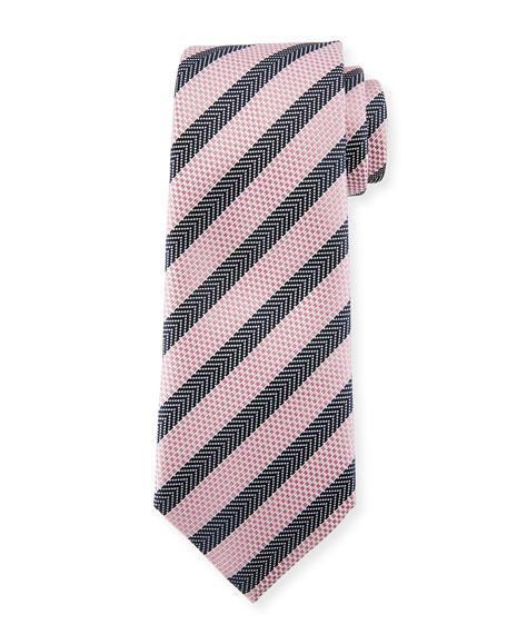Ermenegildo Zegna Chevron Stripe Silk Tie In Pink