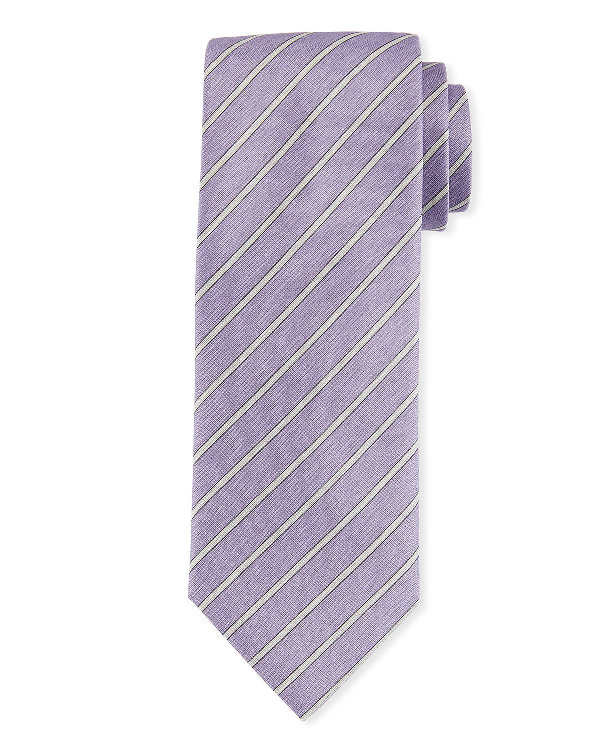 Brioni Striped Woven Tie In Green