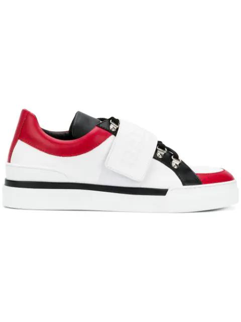 Balmain White & Black Leather Low Top Men's Cobalt Sneakers