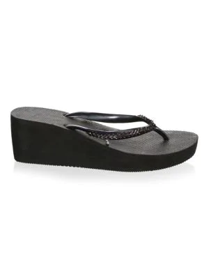 265292b1bc9 Havaianas High Metal Grega Wedge Flip Flop In Black