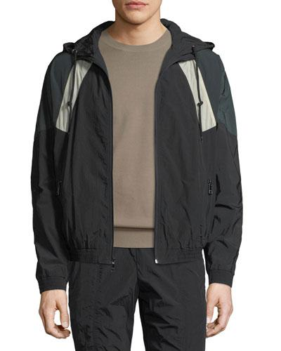 Vince Hooded Soft-Shell Jacket In Black/Deep Forest
