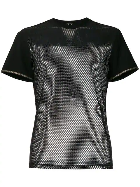 Versace Mesh T-Shirt With Grecian Trim In Black