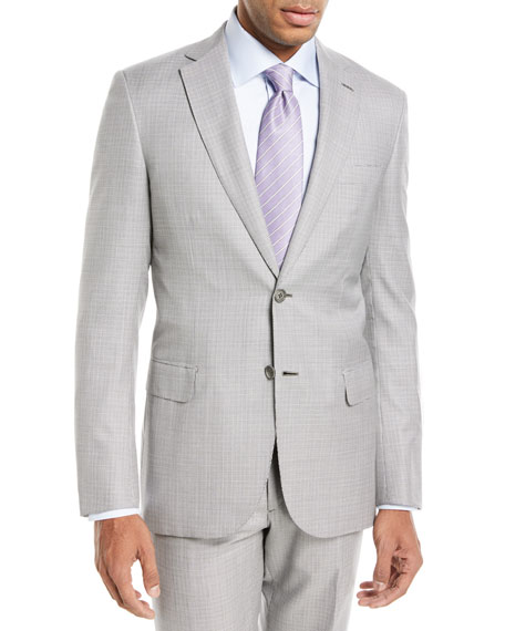 Brioni Houndstooth Wool-Silk Two-Piece Suit In Gray