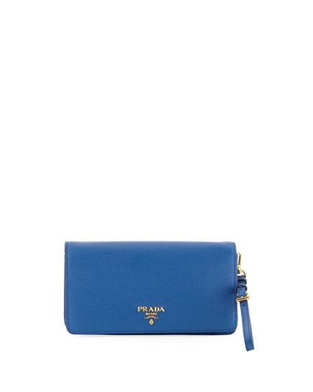a74c72170de564 Prada Saffiano Flap Phone Wristlet Wallet W/ Crossbody Strap In Blue ...
