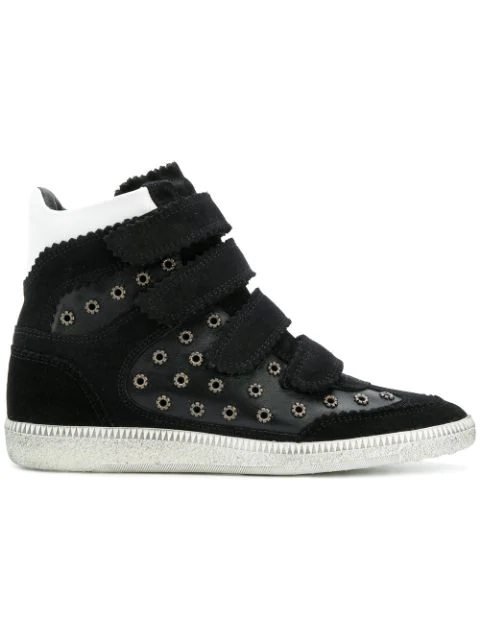 Isabel Marant Bilsy Embellished Concealed-Wedge Leather Trainers In Black
