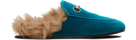 Gucci Turquoise Princetown Velvet Fur Lined Mules In Blue