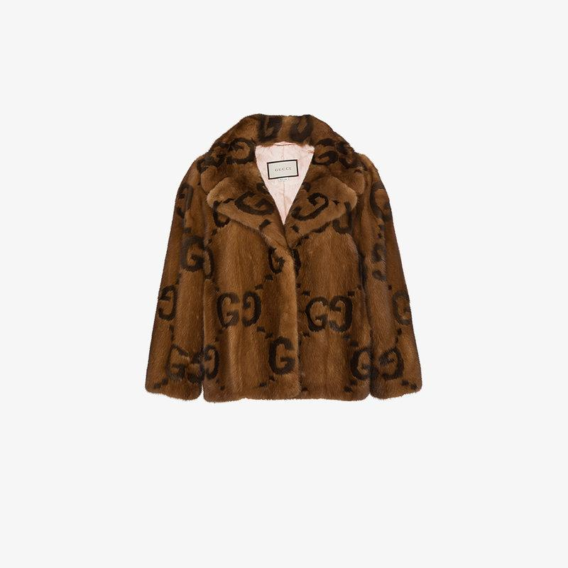 d46323914 Gucci Fur Jacket With Double G Logo In Brown | ModeSens