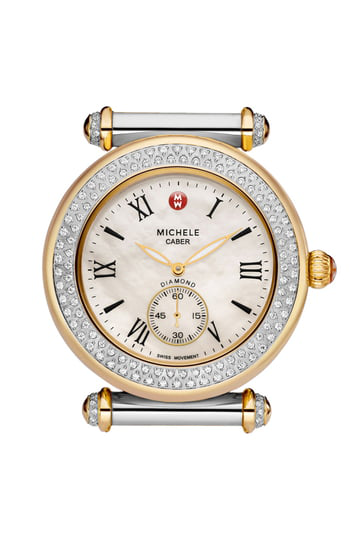 Michele Caber Diamond Two Tone Gold Watch Head, 37mm In Gold/ Silver