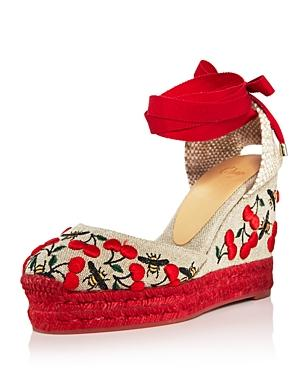 36bc31e9589 CASTAÑER. Women s Carina Merlion Park Embroidered Ankle Tie Wedge  Espadrilles ...