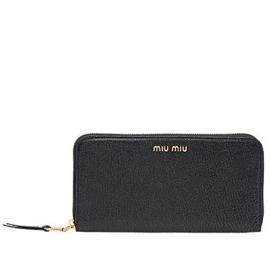 f82d14b7efbb Miu Miu Madras Leather Wallet In Black Rose