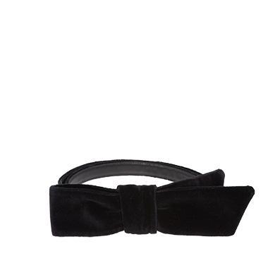 Miu Miu Velvet Belt With Bow In Black