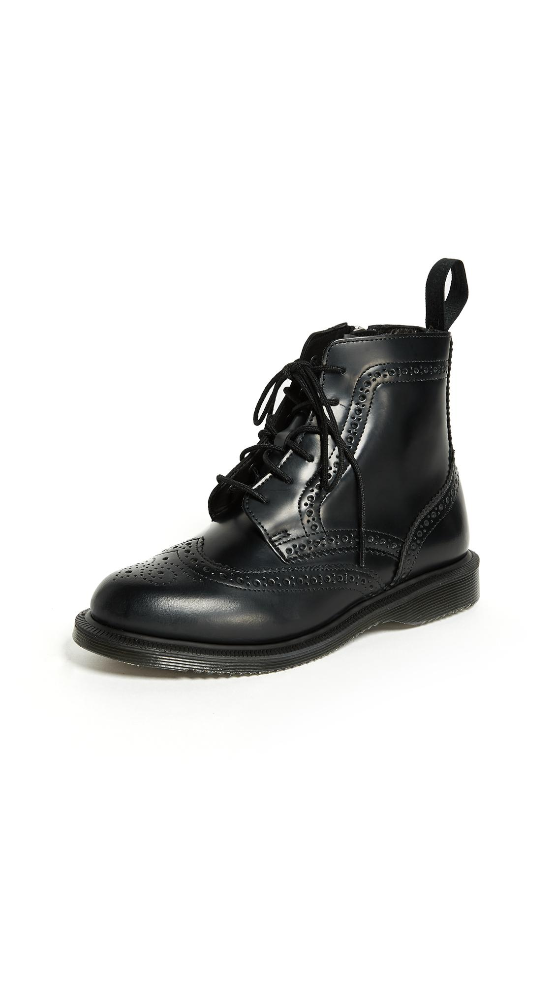 de3c79b9584 Dr. Martens Delphine Brogue Black Leather Lace Up Flat Ankle Boots - Black