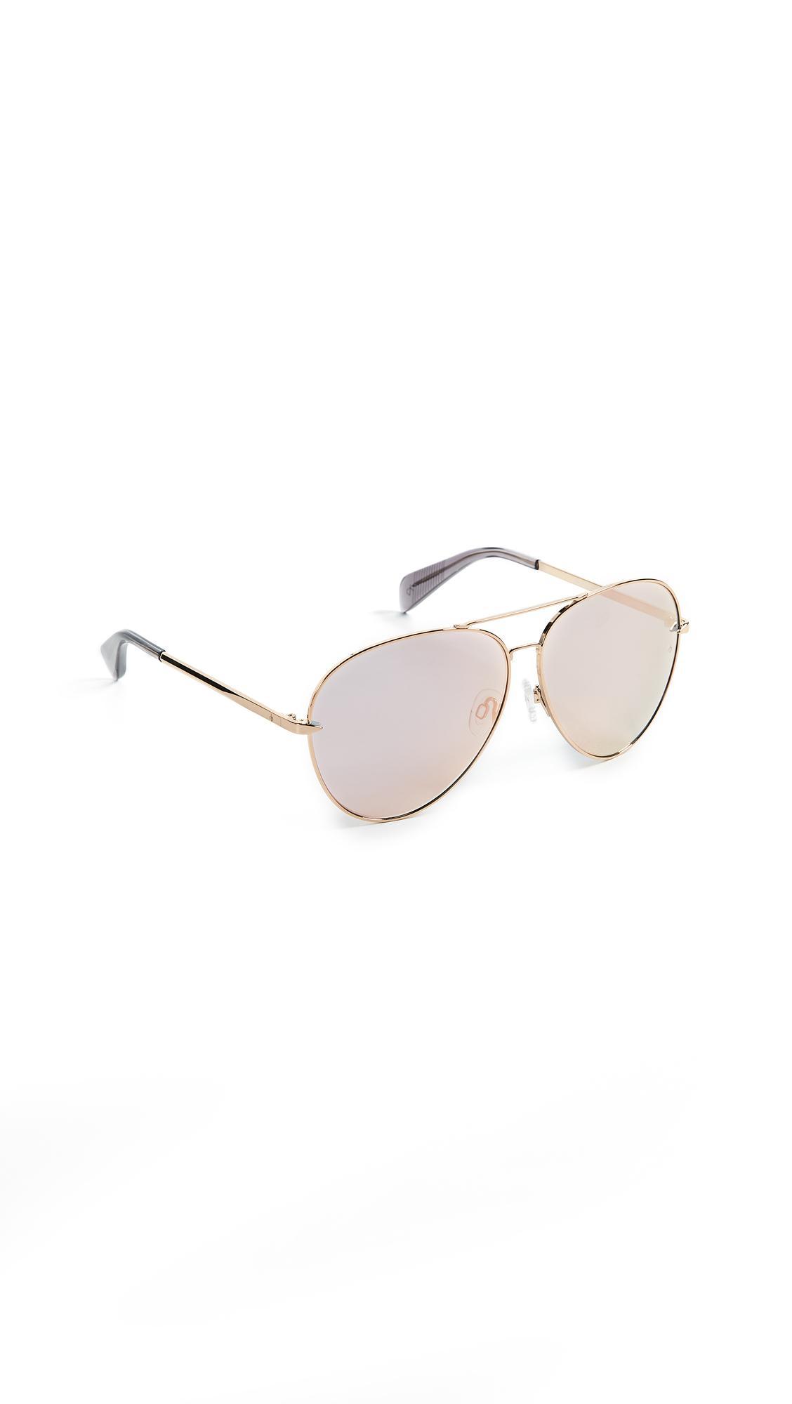 ccf22a0cf7938 Rag   Bone Runway Aviator Sunglasses In Gold Brown Flash