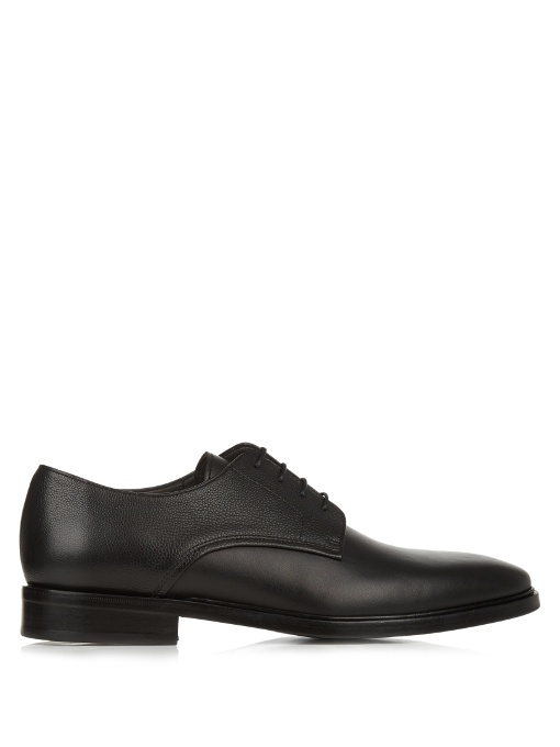 Lanvin Contrast-leather Lace-up Derby Shoes In Black
