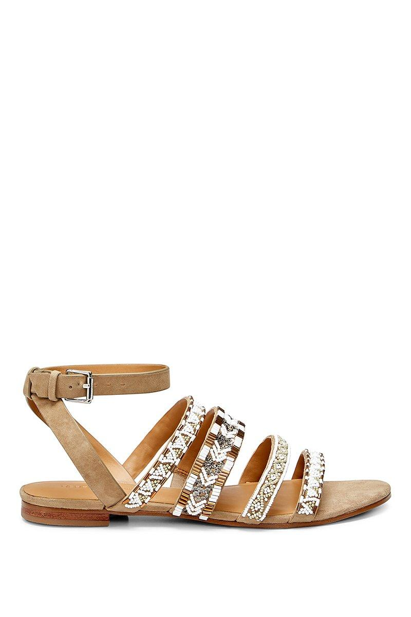Rebecca Minkoff Women's Leila Beaded Suede Ankle Strap Sandals In Aztec Multi