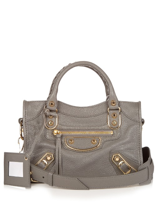 5e93396bb6 Balenciaga Mini Metallic-Edge City Leather Cross-Body Bag In Cement-Grey