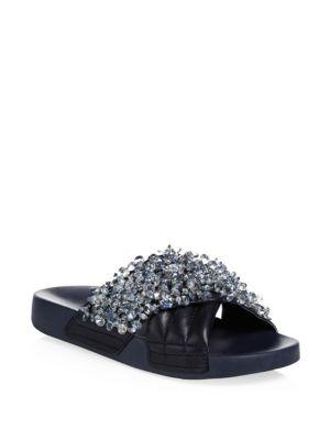 88ab5f1f3e1 Tory Burch Logan Embellished Slide Sandal In Perfect Navy  Gray ...