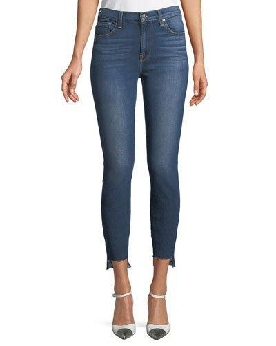 7 For All Mankind Gwenevere Raw-Edge Ankle Jeans In Blue